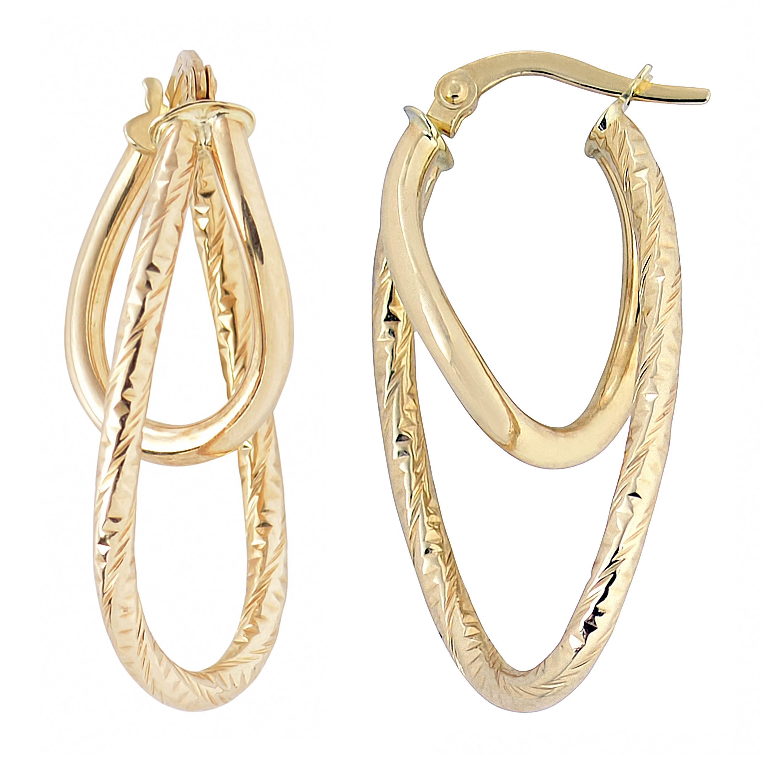 Fremada Italian 14k Gold High Polish and Diamond-cut Finished Double Oval Hoop Earrings