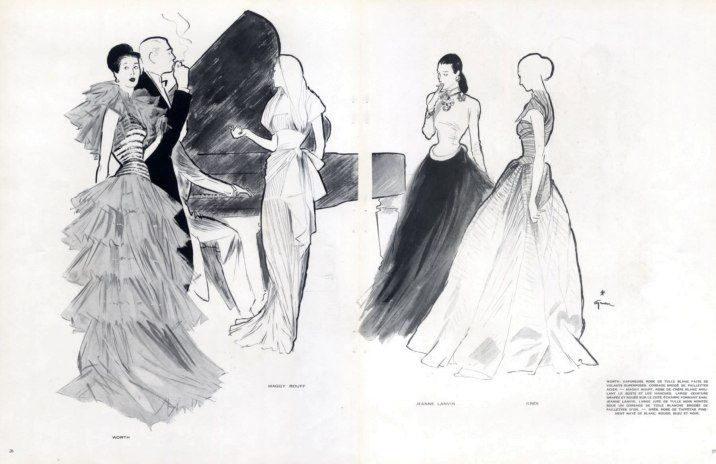 Charles-Frederick Worth, Maggy Rouff, Jeanne Lanvin and Madame Grès, Dresses, illustration by René Gruau, 1946