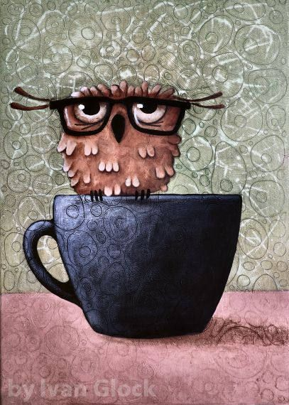 Owl in Cup, Owl Drawing, Cute owl, Owl cartoon, Owl in eyeglasses #cutecups