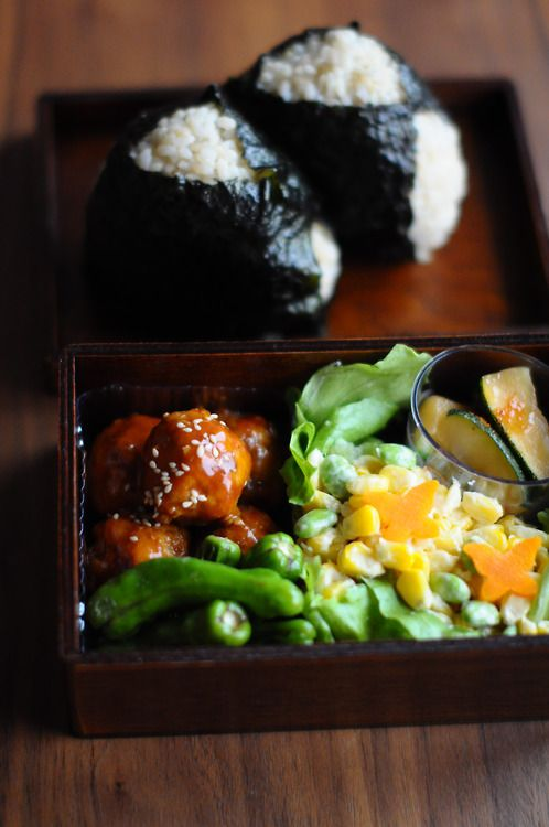Japanese rice balls -onigiri- keep scrolling til you find this post. Other meal ideas here too...