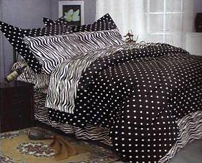 Black And White Polka Dot Zebra Print Bedding Set Comforter Bedroom