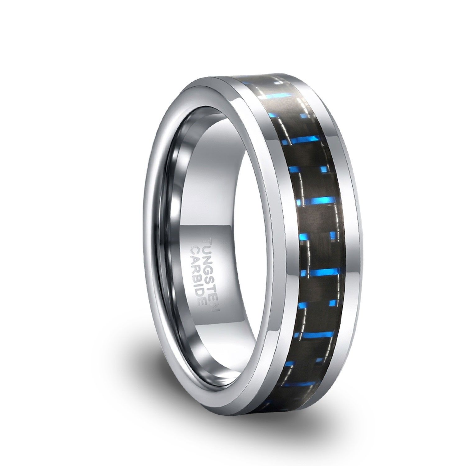 8mm Tungsten Carbide High polish With Blue Carbon fiber Inlay Wedding Band Ring For Men Or Ladies