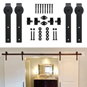 4ft 16ft Sliding Bypass Double Wood Barn Door Hardware Closet Track Set Antique Ebay Wood Barn Door Barn Door Hardware Double Sliding Barn Doors