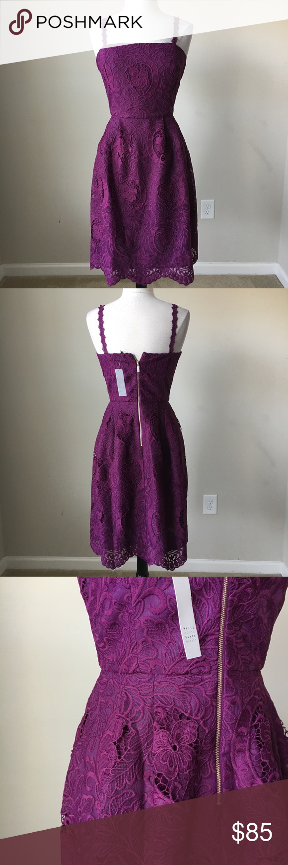 Purple sleeveless lace fit and flare dress size 12 NWT