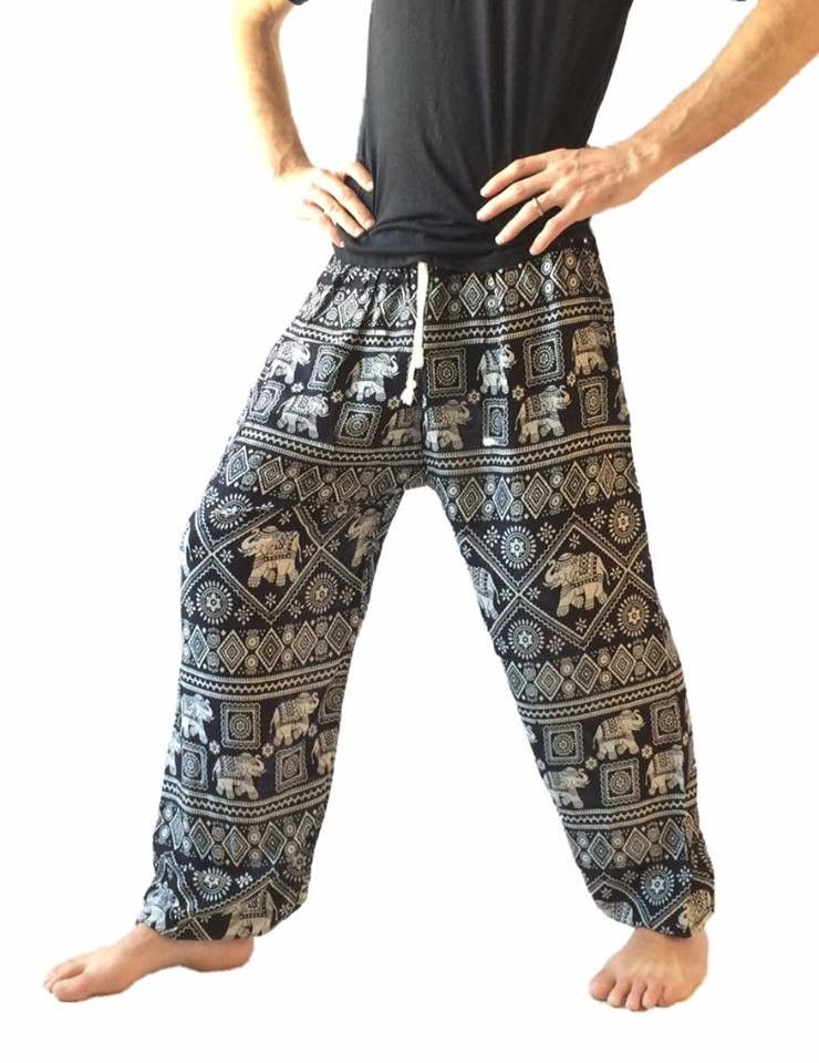 02a53a4eb7b689 Men's Black Baggy Harem Pants - Elephant Print | pants | Pants ...