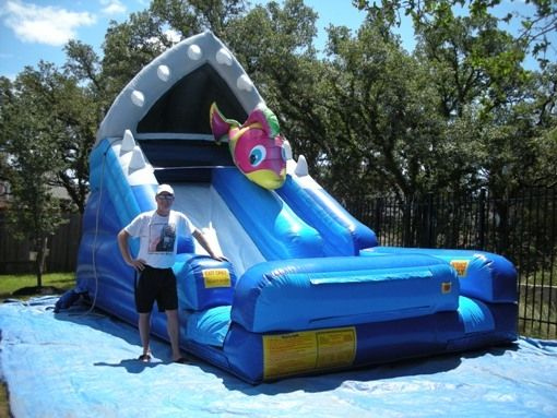 Amanzi Party Rentals Your Austin Shark Escape Waterslide Resource In Austin Texas Water Slide Rentals Party Rentals Baby Car Seats