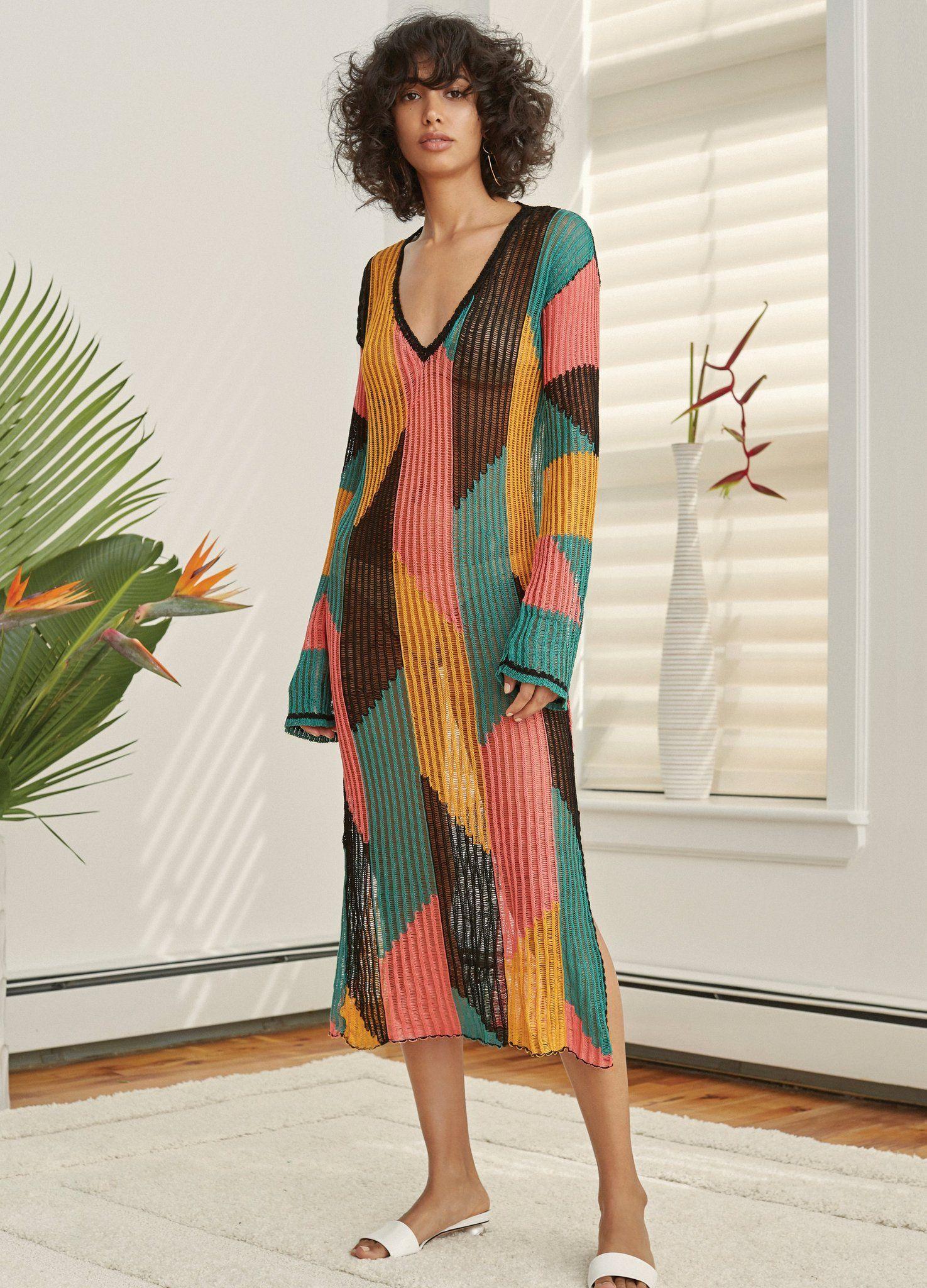 16bb65faba Multicolored Cotton Serreno Caftan Fashion Show Collection