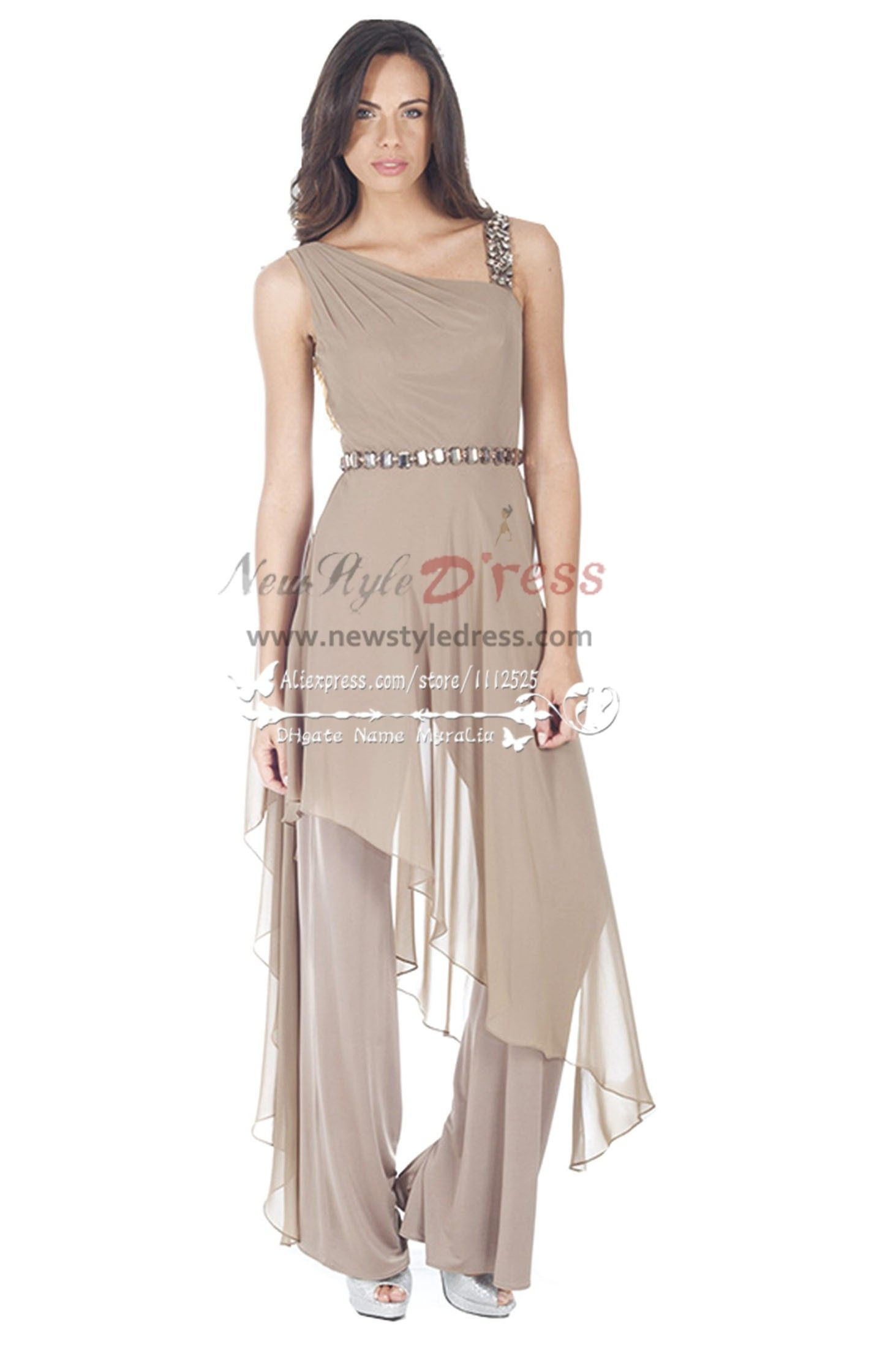 Fashion Gray Chiffon Jumpsuit With Crystal For Wedding Party Women S Dress Pant Suits
