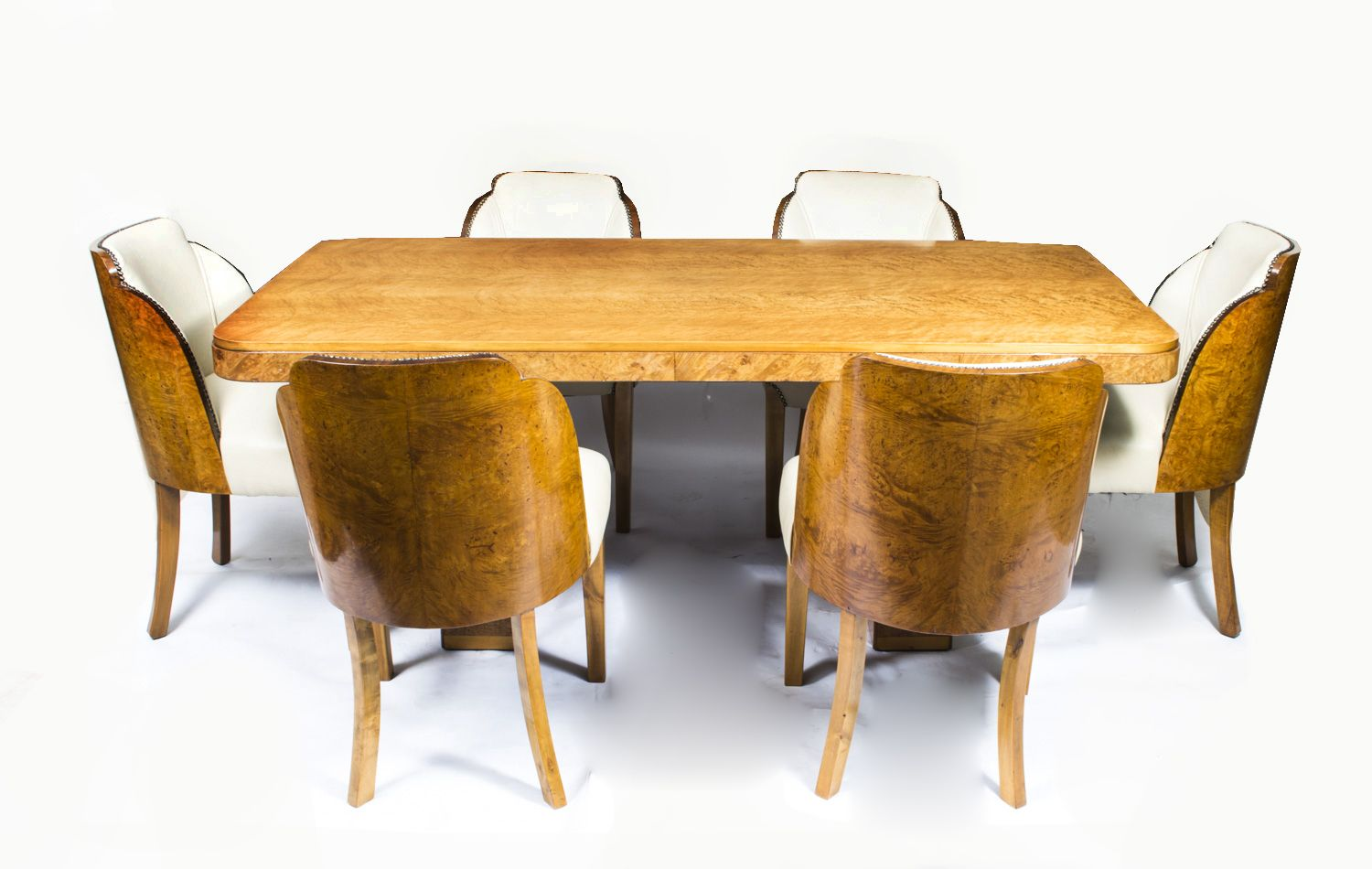 A beautiful antique Art Deco dining table with 6 cloudback chairs. - A Beautiful Antique Art Deco Dining Table With 6 Cloudback Chairs