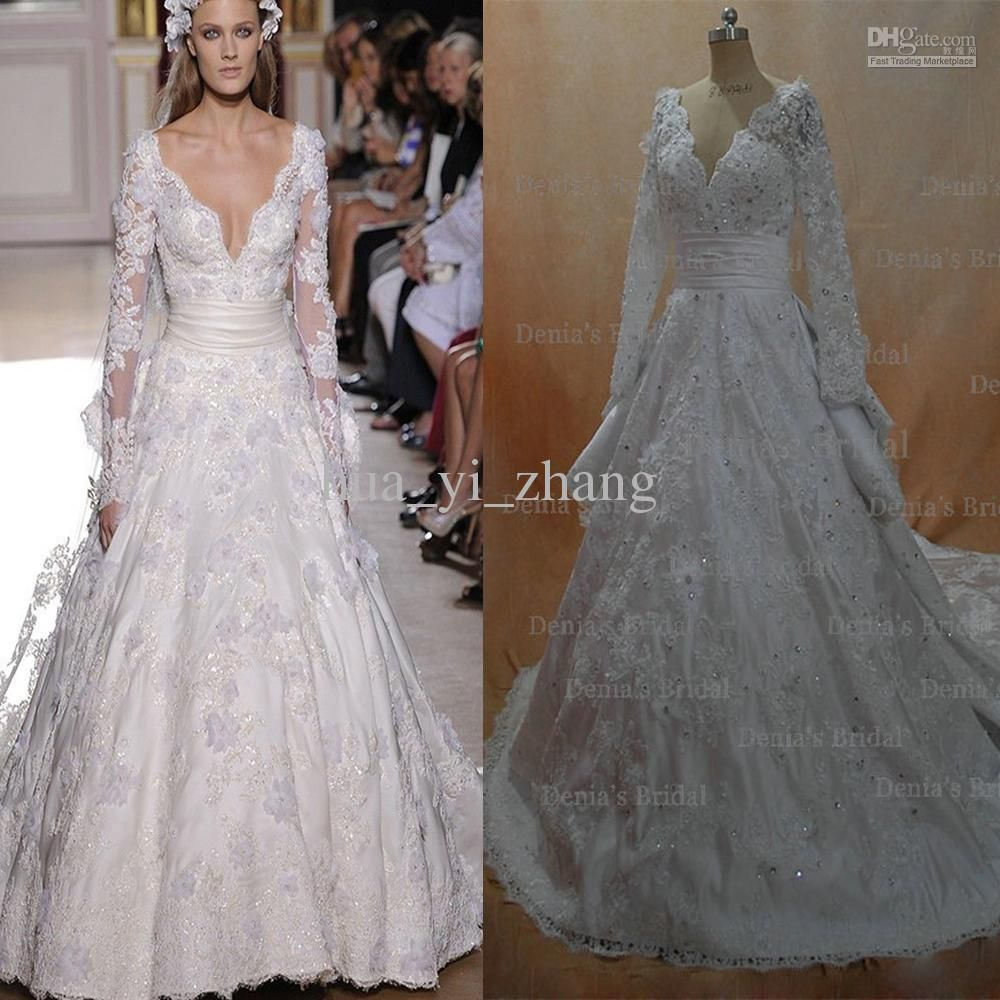 Delightful Cheap Wedding Dresses   Discount Murad V Neck Wedding Dresses With Long  Sleeves Online With $340.91/Piece | DHgate