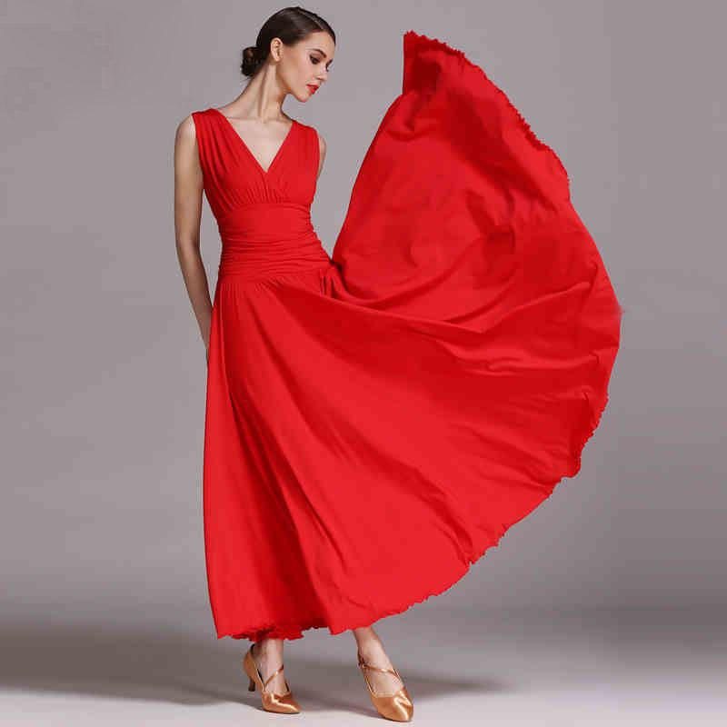 edc3410b7 Red Ballroom Competition Dance Dress New Simple Flamenco Waltz Costume High  Quality Women Ballroom Competition Dancing Dresses #Affiliate