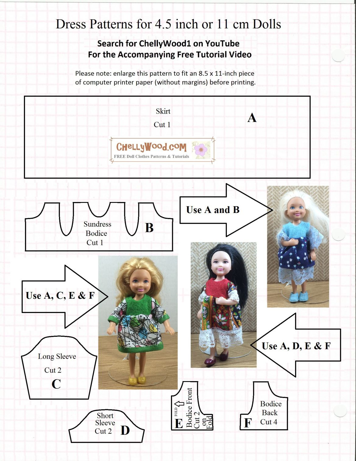 Image Shows A Printable Sewing Pattern With Photographs Of Three Of