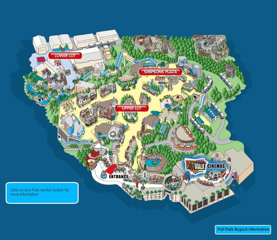 Universal Studios Hollywood Park Map Theme Parks Other Places