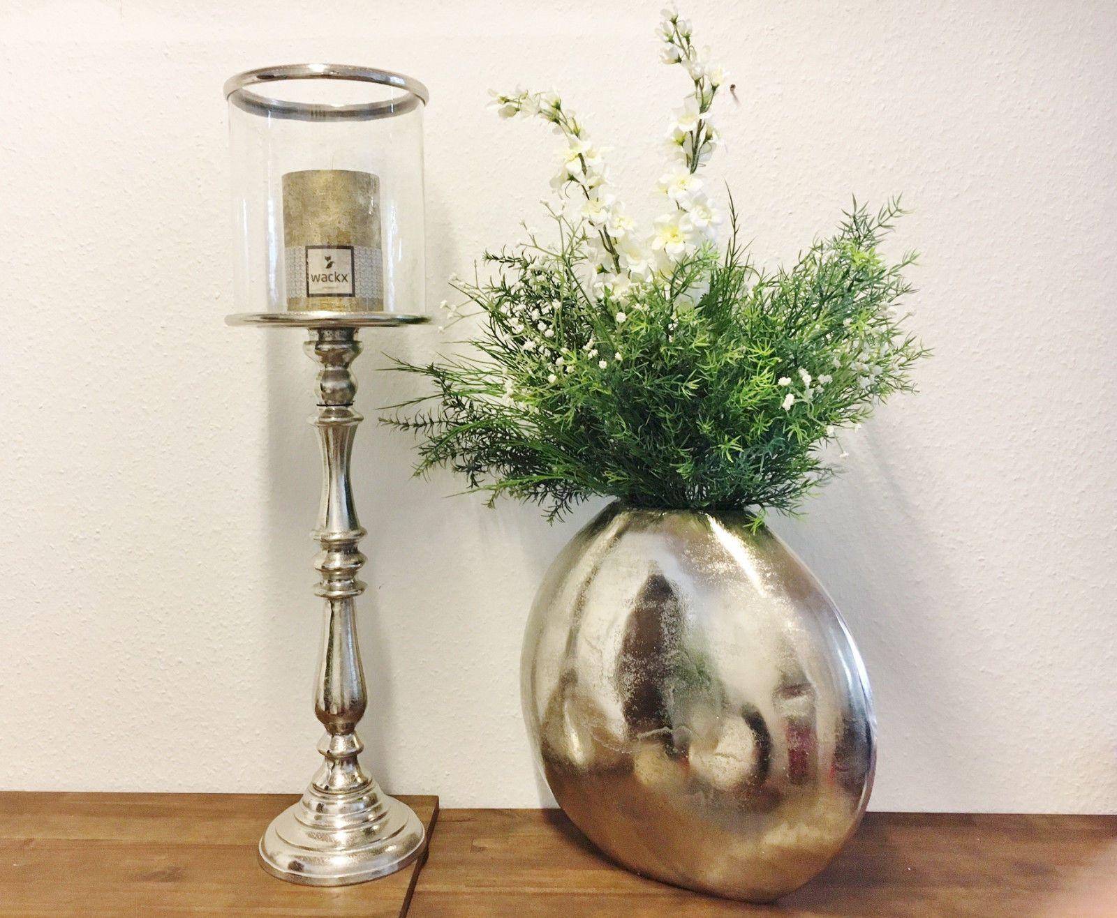 Kerzenstander Windlicht Gross 21x21x79cm Aluminium Silber