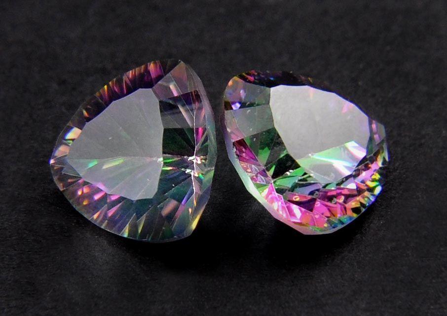 12.4Ct. Certified Triangular Shaped Mystic Quartz Gemstone Pair