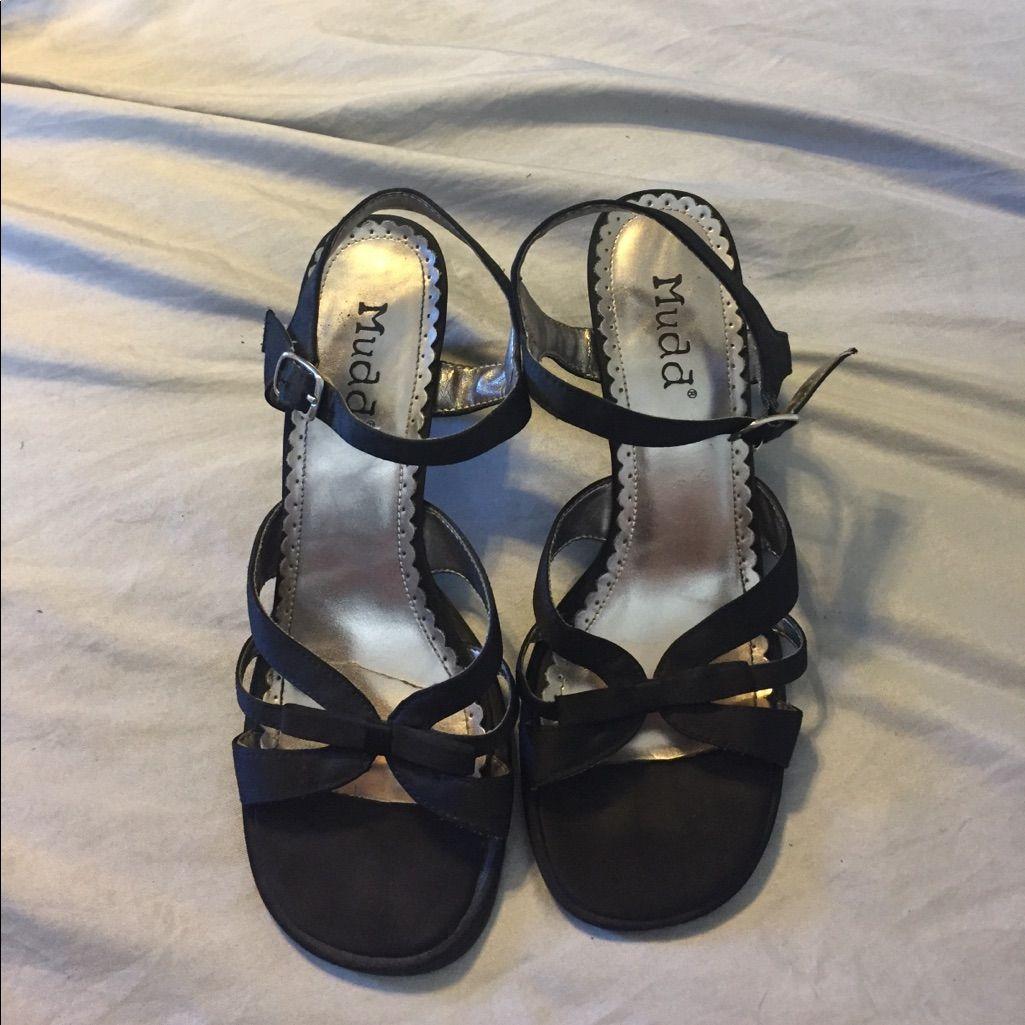 Mudd Black Satin Strappy Sandal