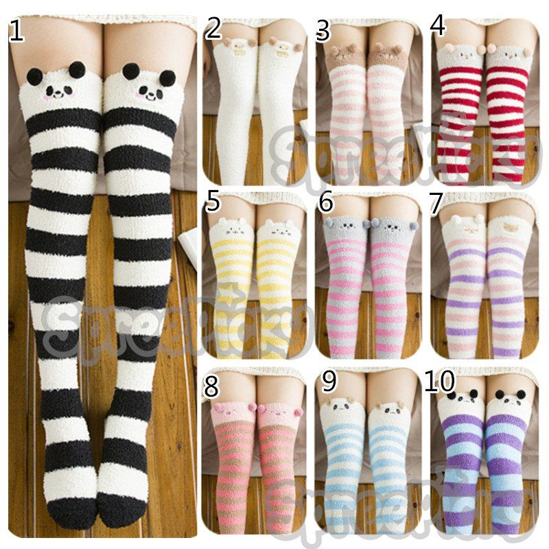 51252b763 Cutie Animal Fleece Thigh High Long Socks SP154247 - SpreePicky - 12 .
