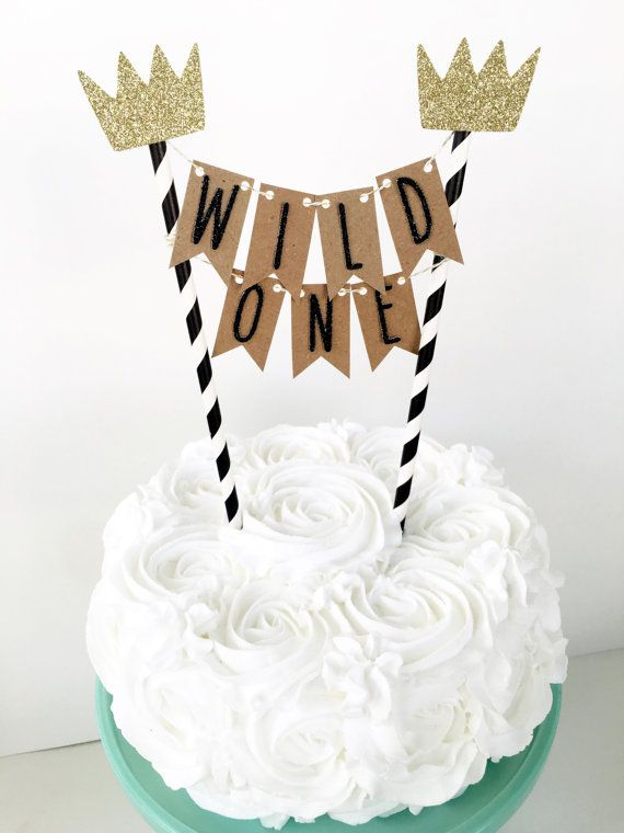 Where The Wild Things Are Cake Topper One Banner Bunting First Birthday Party Dessert Table Decor 1st Smash