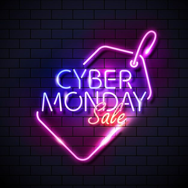 Cyber monday concept with neon design. Download for free at freepik.com! #Freepik #freevector #freebanner #sale #offer #business #brochure #background #cybermonday #discounts