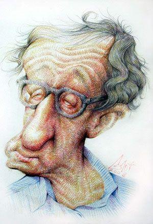 Woody Allen Illustration Of Hadi Asadi Caricature Sketch Caricature Artist Comic Face