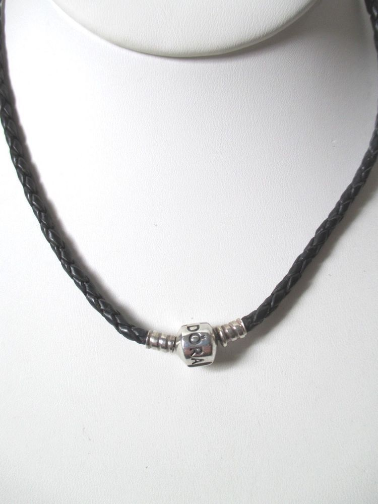 c640f62f4 PANDORA Black Braided Leather Necklace STERLING SILVER 925 Clasp 16in.  Length #PANDORA #BraidedLeather