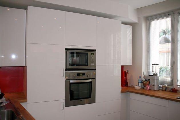 Cuisine IKEA blanc laqué verriere DIY Pinterest - Hauteur Plan De Travail Cuisine Ikea