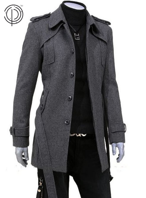 Tanming Mens Stylish Fashion Classic Wool Blend Single Breasted Pea Coat Overcoat