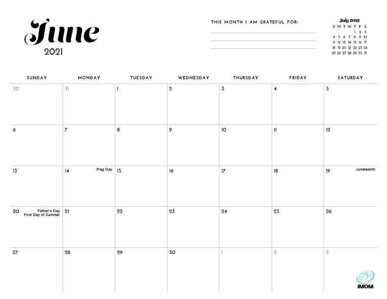 2020 and 2021 Simple Printable Calendar for Moms - iMom in ...