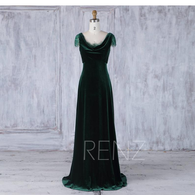 Bridesmaid dress dark green velvet wedding dress lace cap