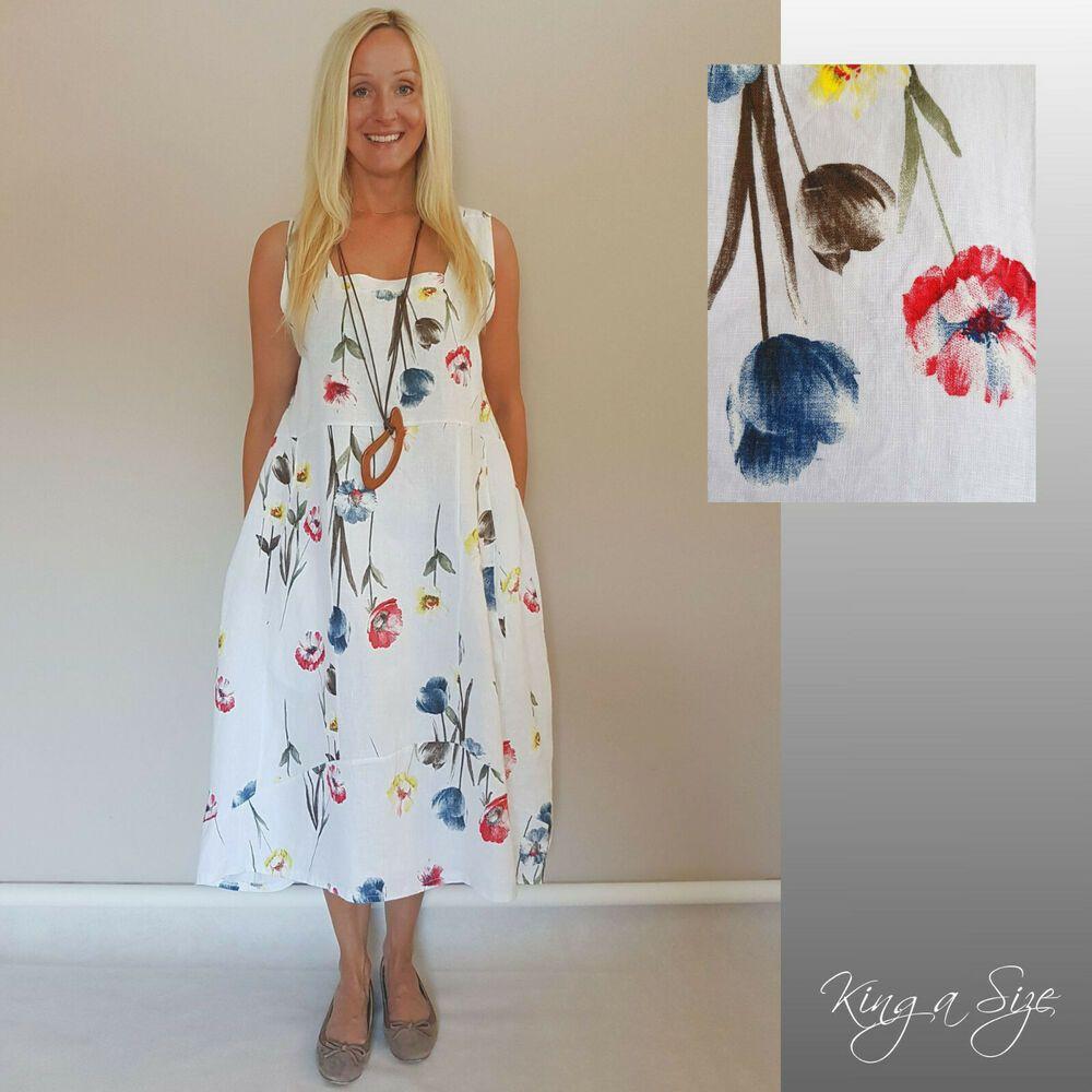 ITALY Sommer LEINEN Kleid Lagenlook Lose Plus Size Mode ...