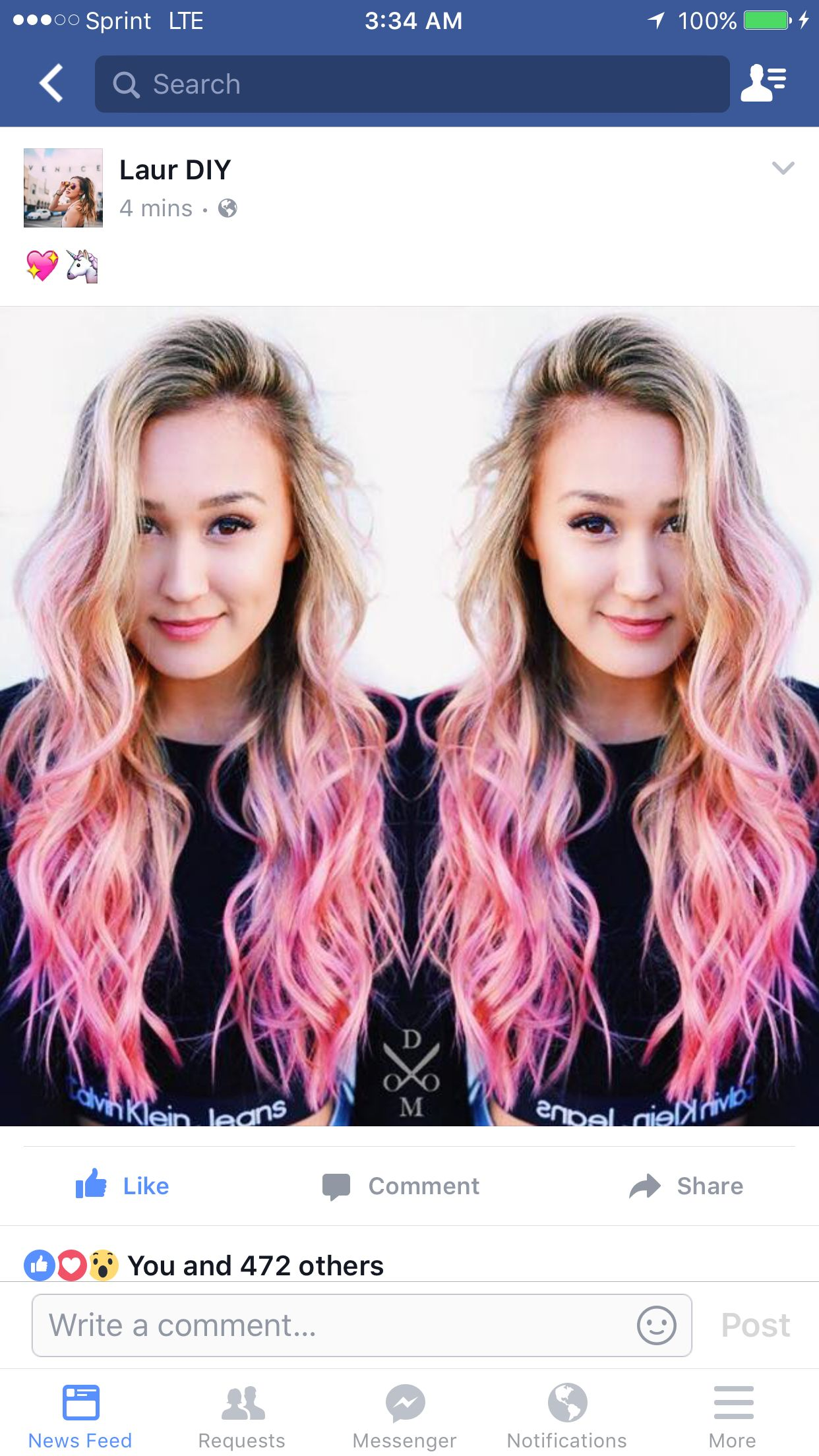 Blonde Hair with Pink Tips See this Instagram photo by laurdiy