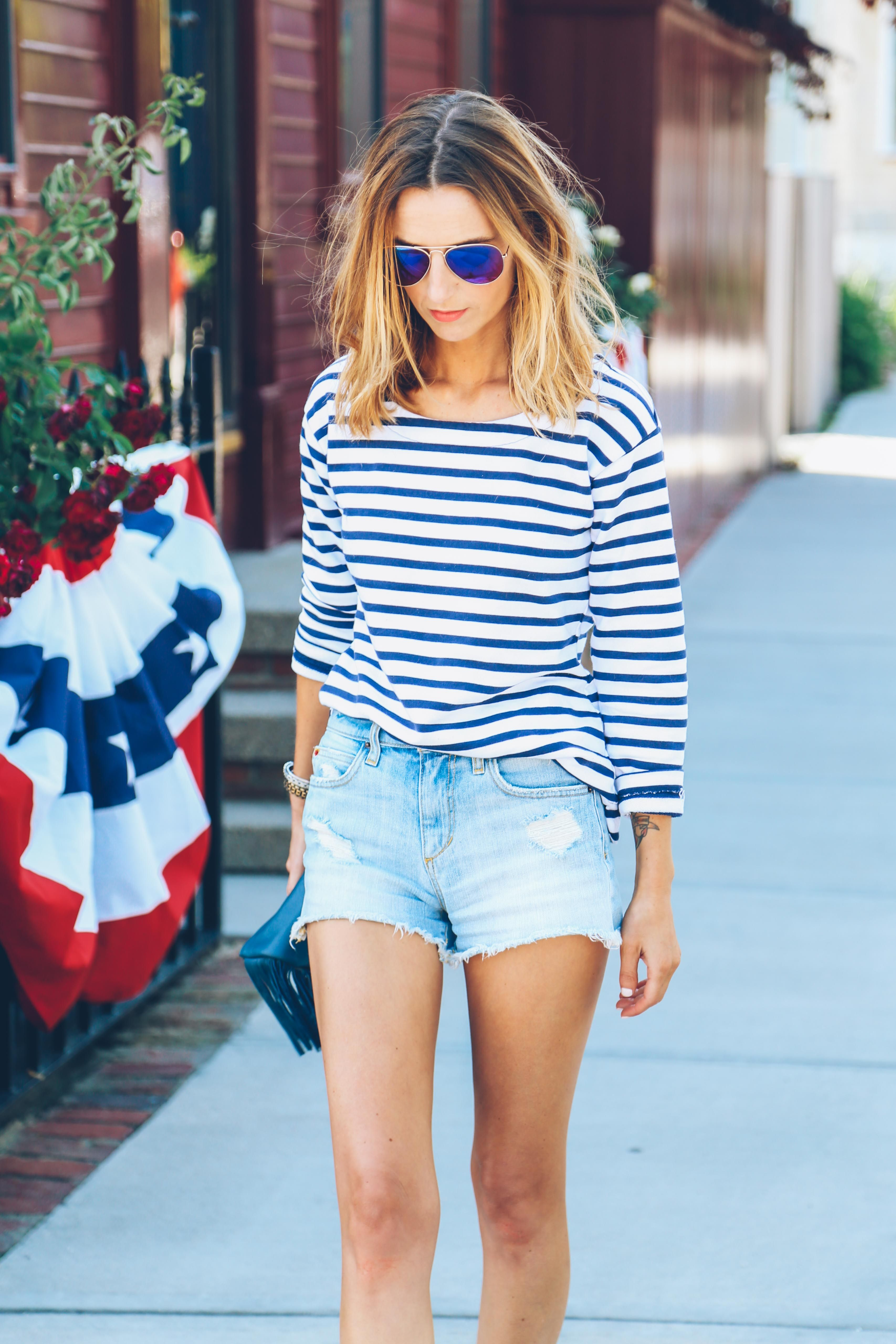 4th Of July Outfit Ideas Striped Shirt And Cut Offs Jessannkirby