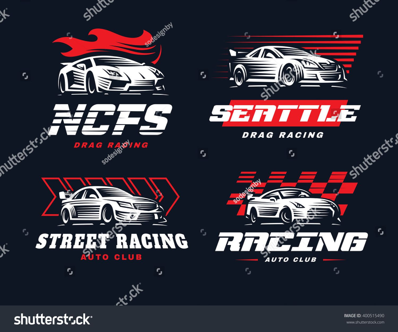 Sport car logo illustration on dark background. Drag
