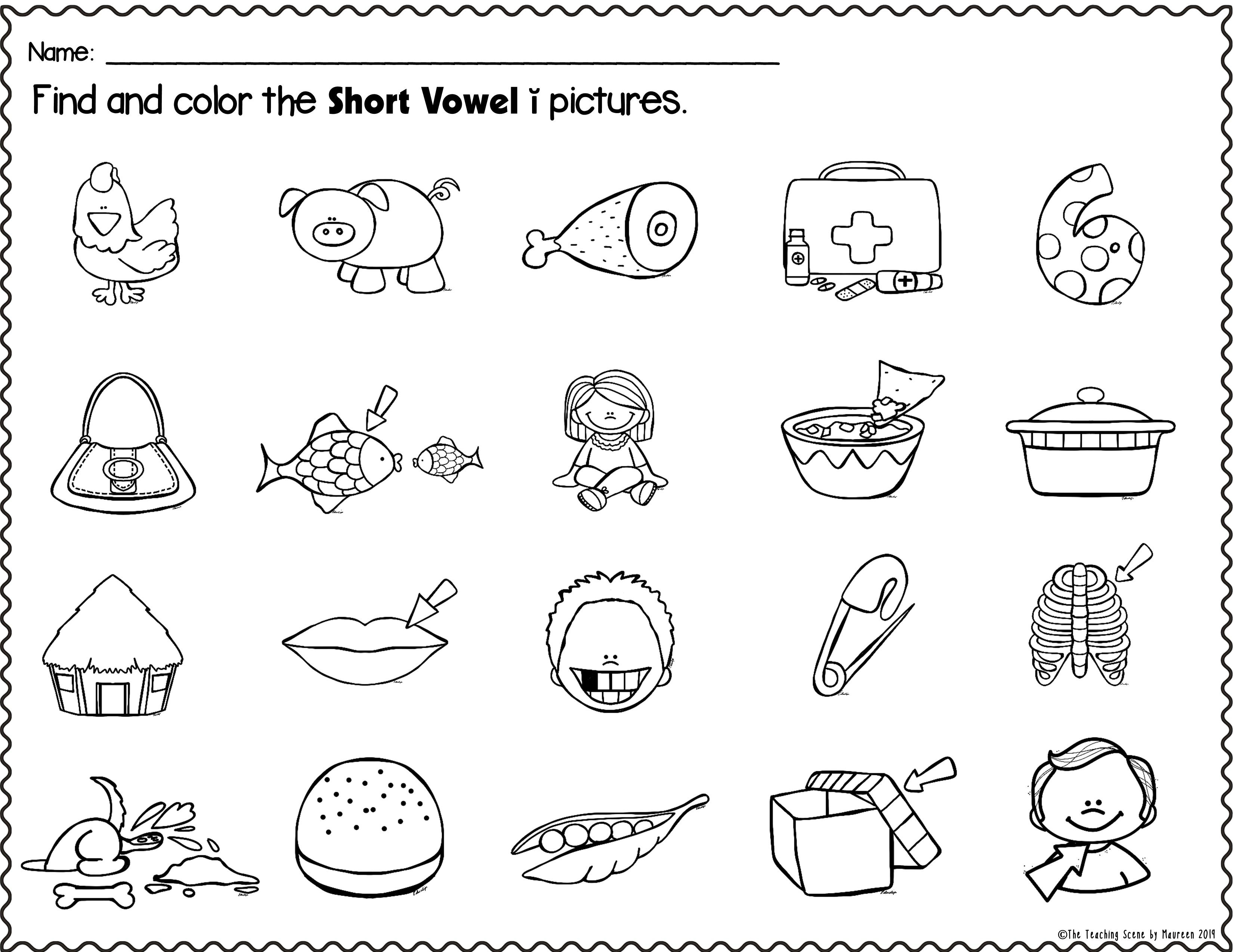 Short Vowel Packet Letters Pictures Words