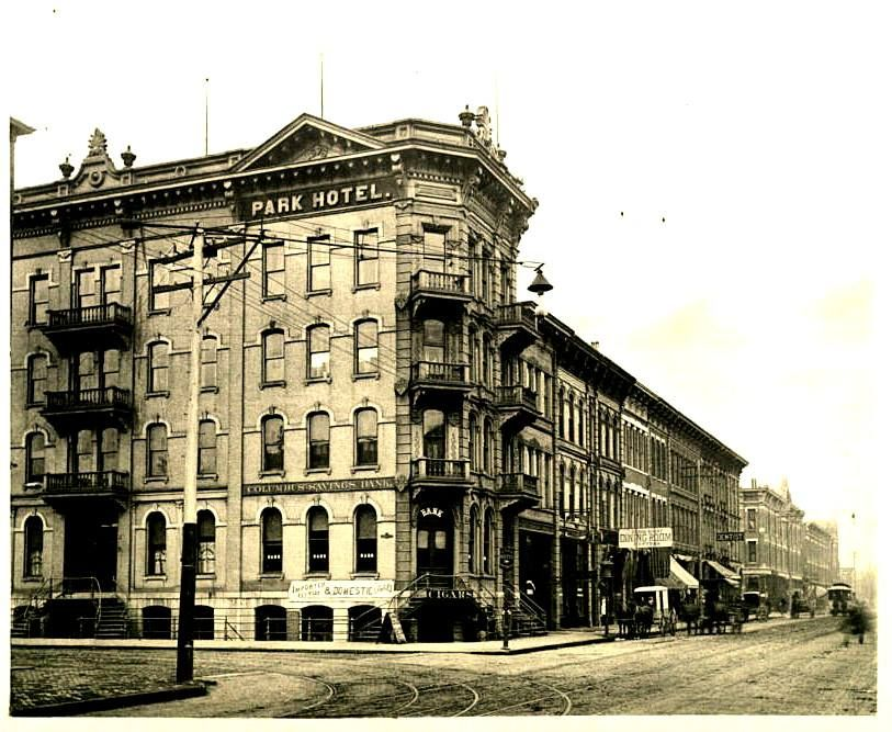 The Park Hotel, located on the northwest corner of North High Street and West Goodale Avenue. The address was 563 North High Street.  The four story park Hotel opened on December 1 1878 on what is now the cap over I-670. I was also called the Northern Hotel and the Railway YMCA. Part of this building survived as the Goodale Hotel until demolition on January 1 1957. Columbus Metropolitan Library