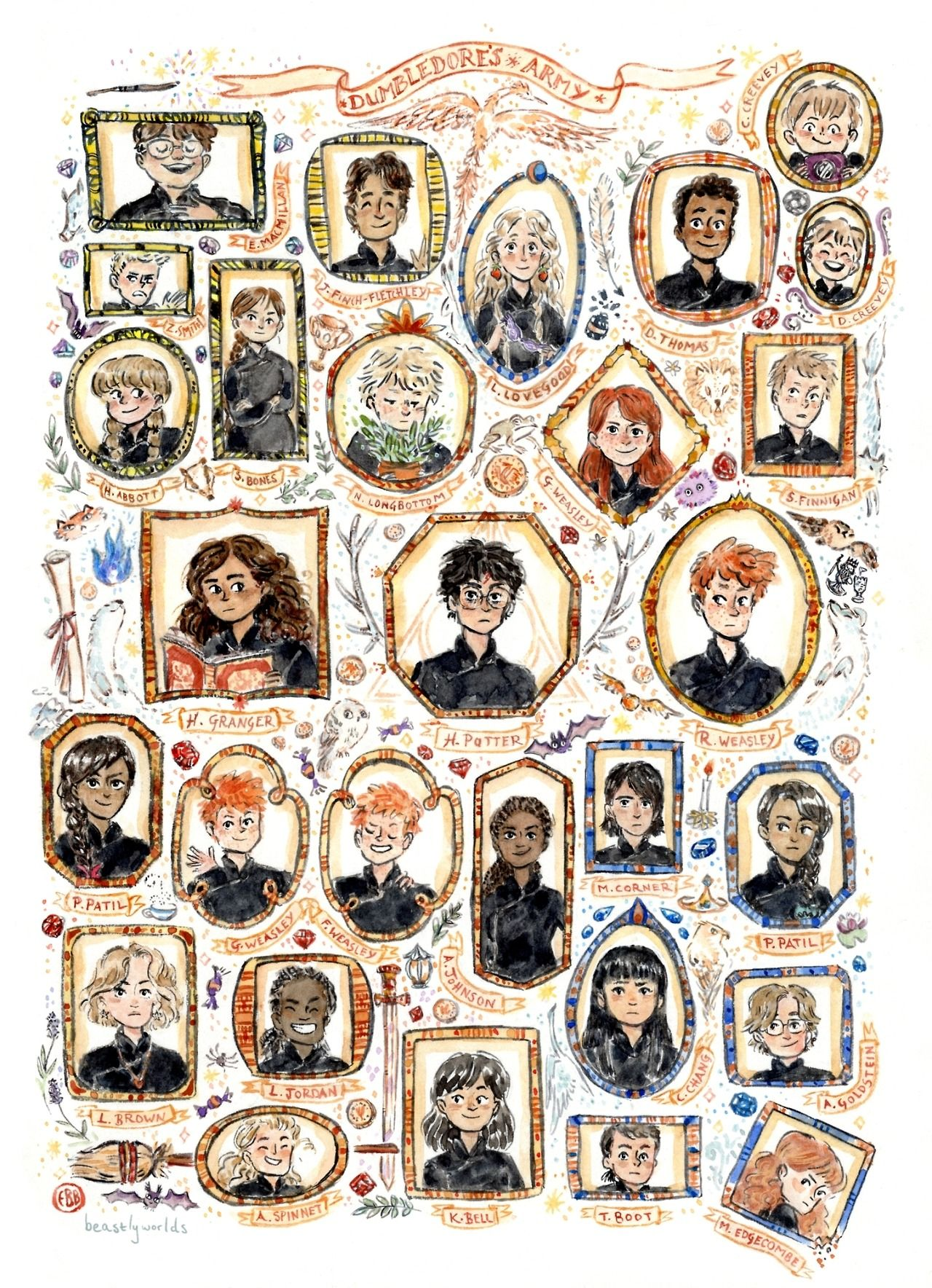 Dumbledore S Army I D Been Wanting To Do Another Watercolour Portrait Wall And With The Harry Potter Illustrations Harry Potter Drawings Harry Potter Artwork