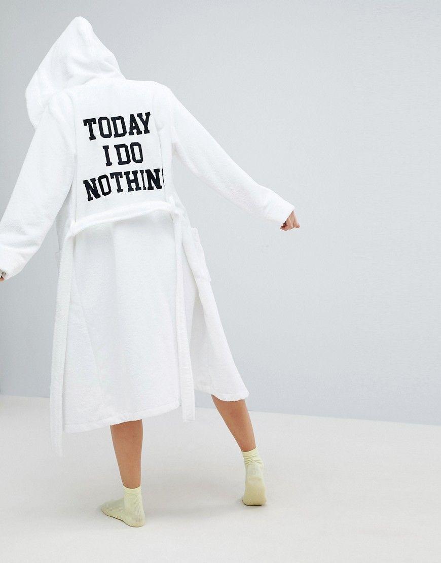 ASOS Premium Towelling Embroidered Slogan Bath Robe - White | Bath ...