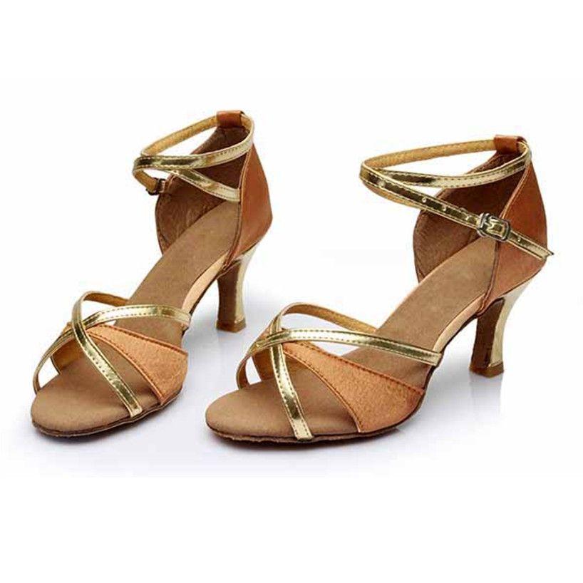 Glitter Ballroom Shoes Gold Round Toe Lace Up Zapatos de baile latino para mujeres XNMcMoLiHa