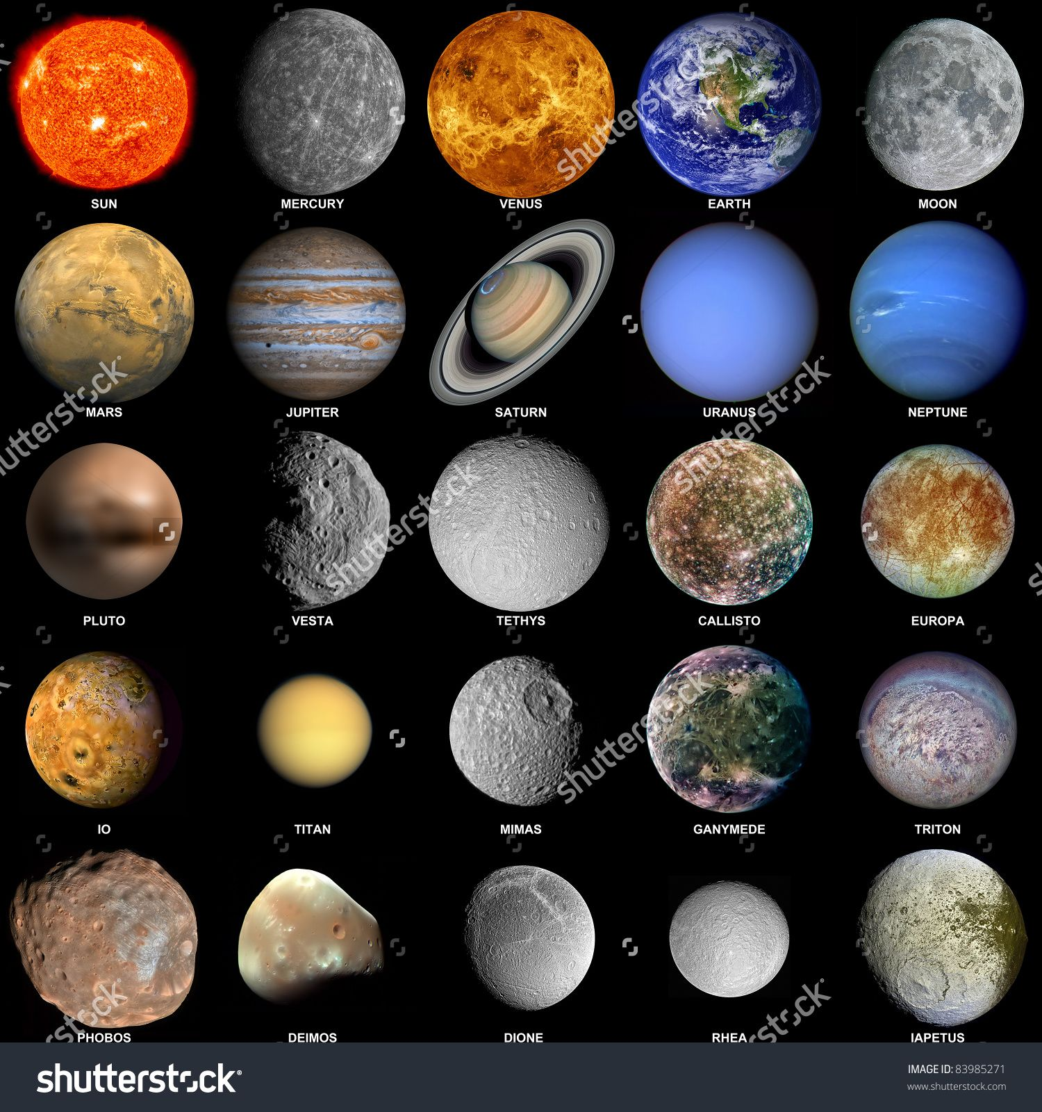 all of the planets that make up the solar system with the sun and