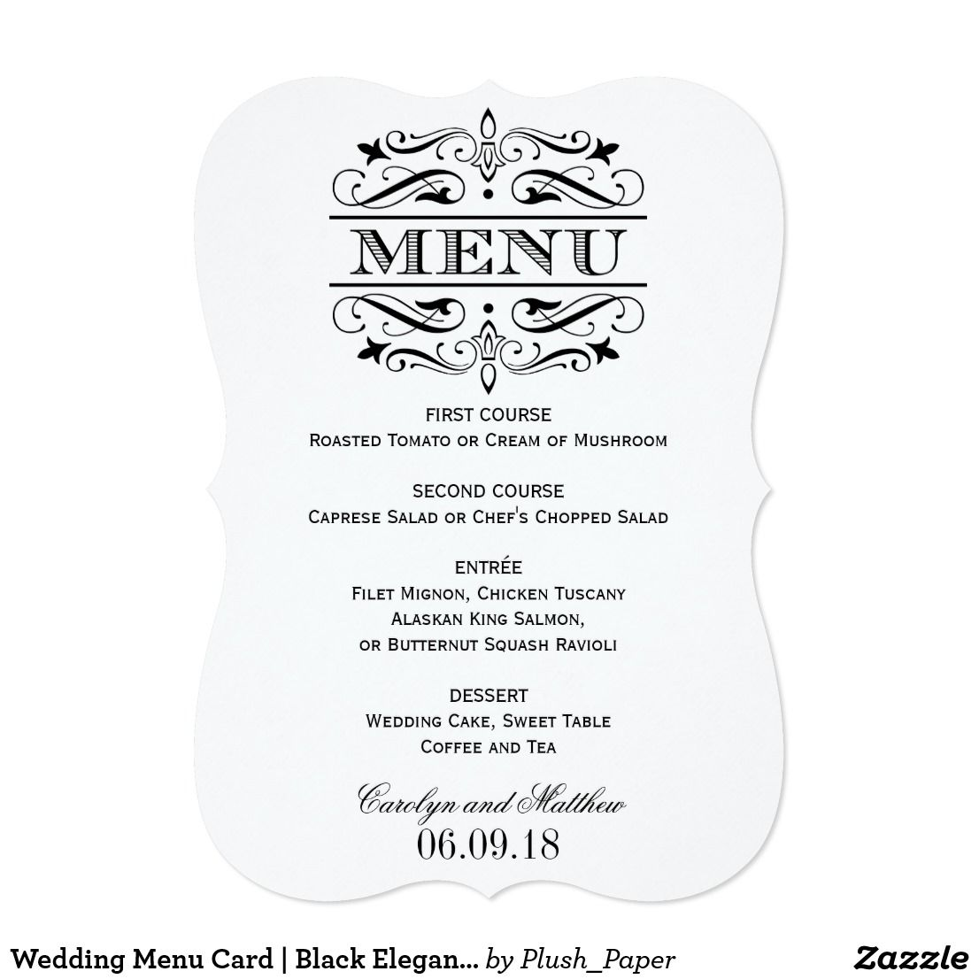 Delightful Wedding Menu Card | Black Elegant Flourish Elegant And Formal Wedding Dinner  Menu Cards Feature Decorative Intended Formal Dinner Menu Template