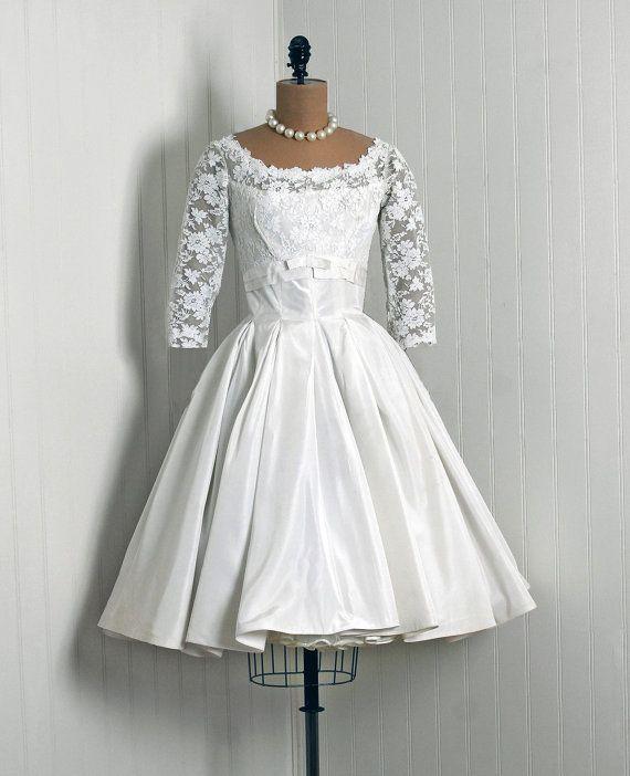 1950\'s Vintage Ivory-White French Wedding Dress | Wedded Bliss ...