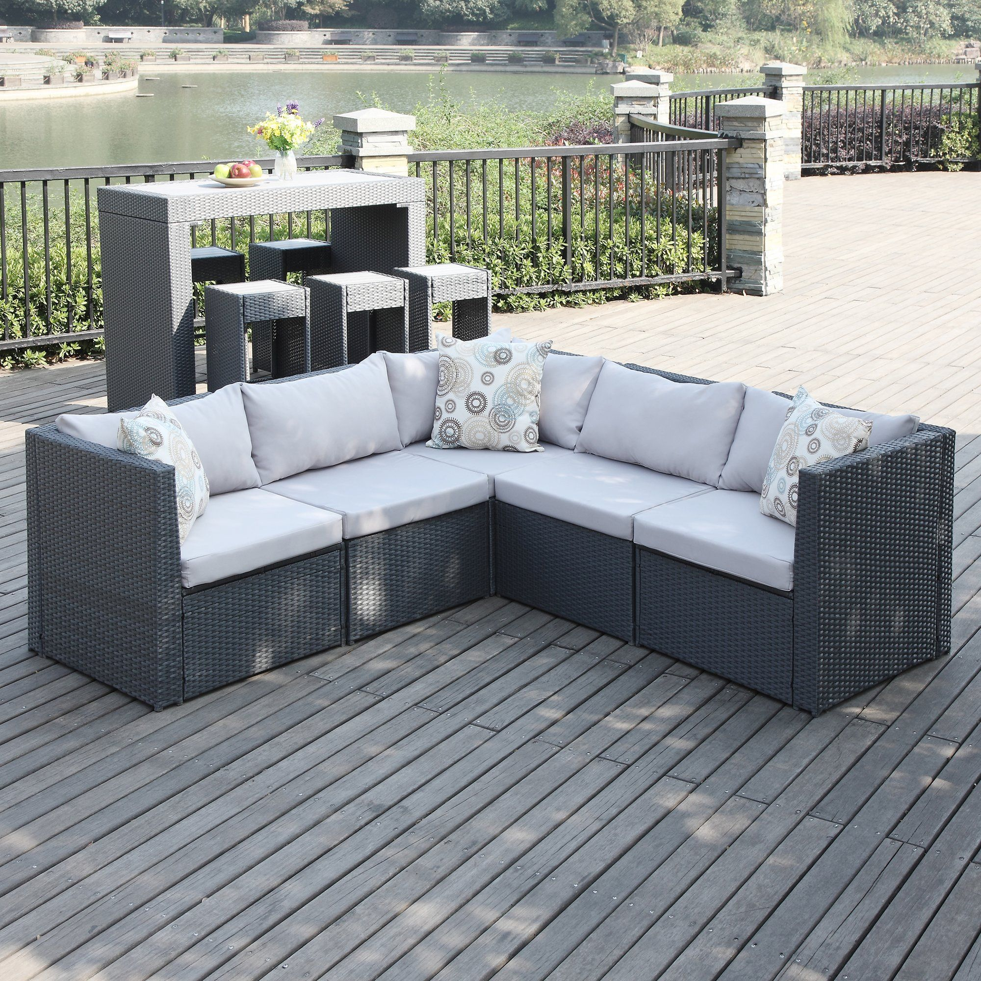 Larsen Patio Sectional With Cushions Outdoor Sofa Patio