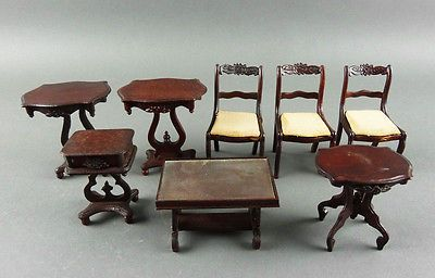 8 Pieces Carl Forslund Hillerby House Dollhouse Furniture Chairs Tables
