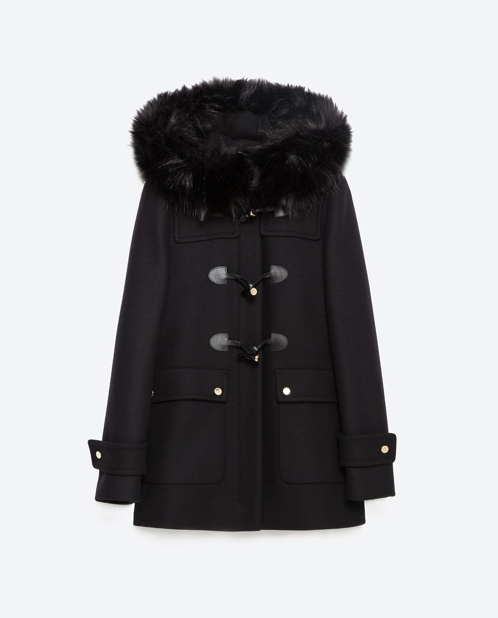 duffle coat with faux fur lined hood view all outerwear woman zara united states love it