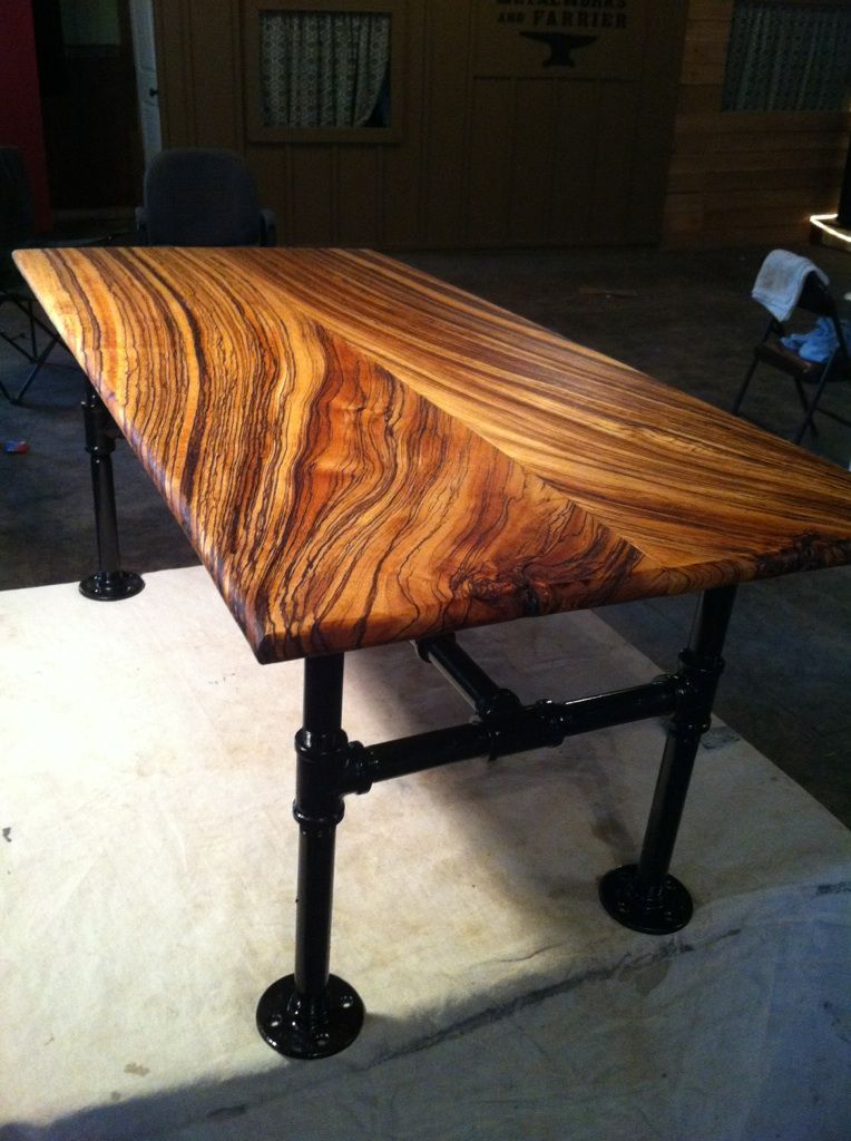 Delightful Table Made From Zebra Wood
