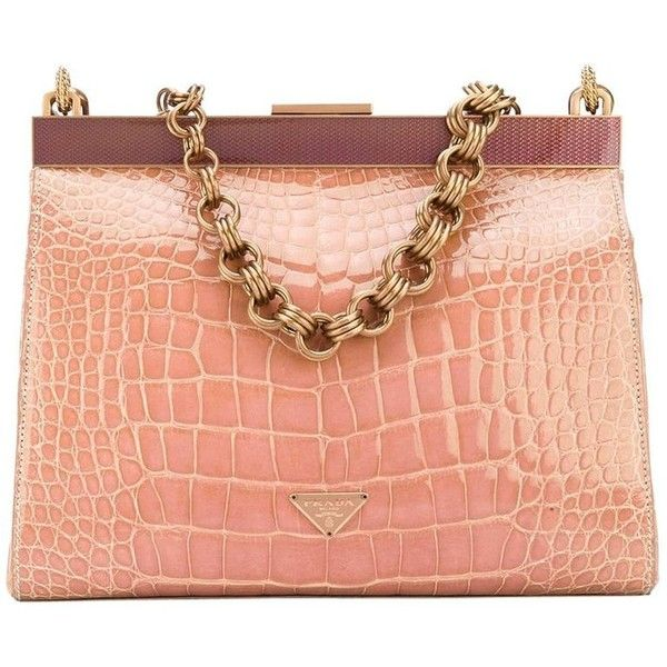 24413fa15181 Preowned Prada Pink Crocodile Leather Vintage Bag, 2000s ($7,337) ❤ liked  on Polyvore featuring bags, handbags, pink, top handle bags, chain handle  bag, ...