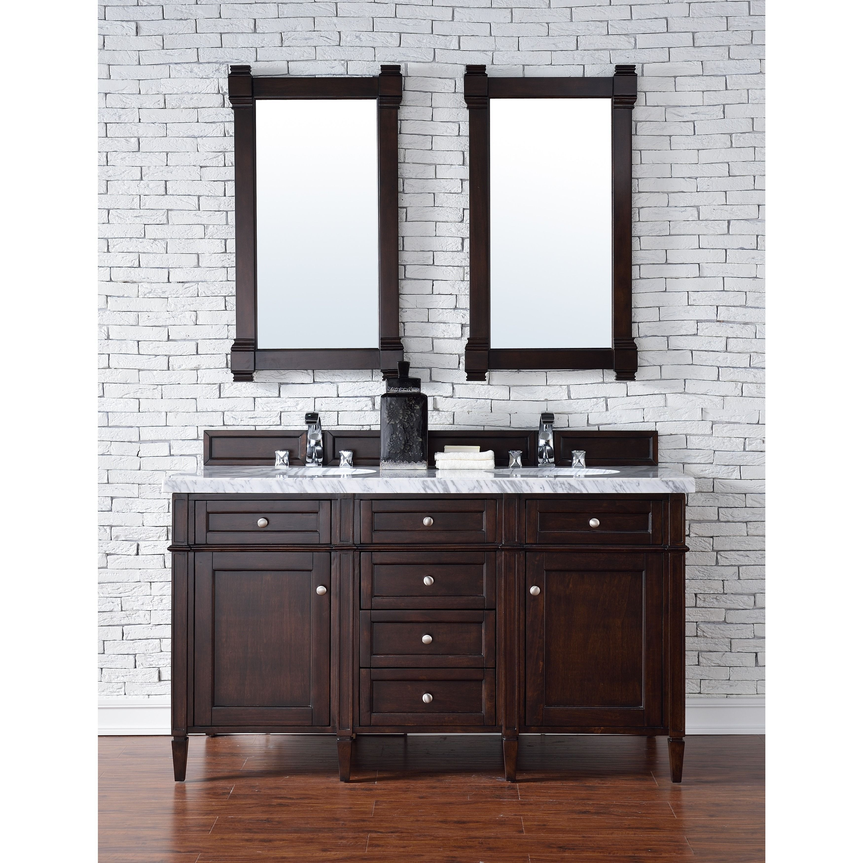 This Brittany 60 Inch Burnished Mahogany Double Vanity By James