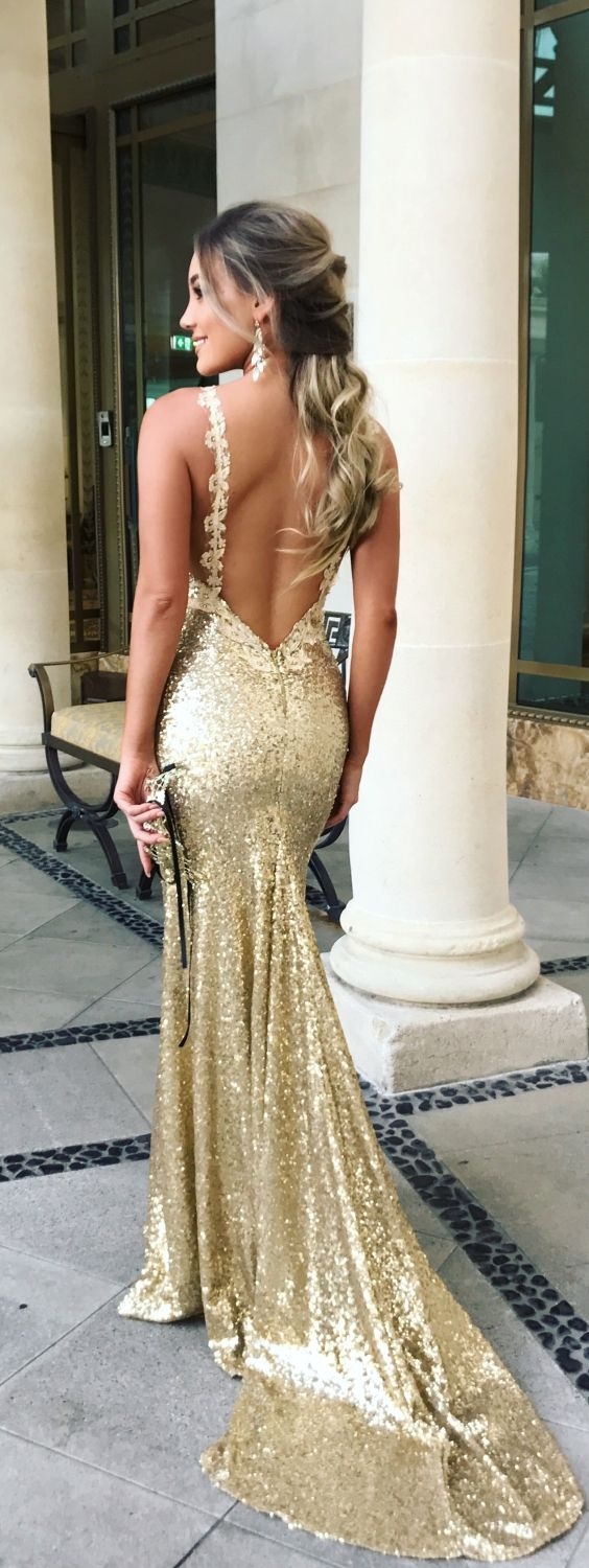 Mermaid spaghetti straps backless gold sequined prom dress with