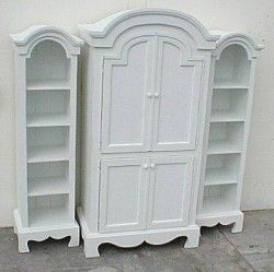 Farmhouse Armoire With Two Bookcases