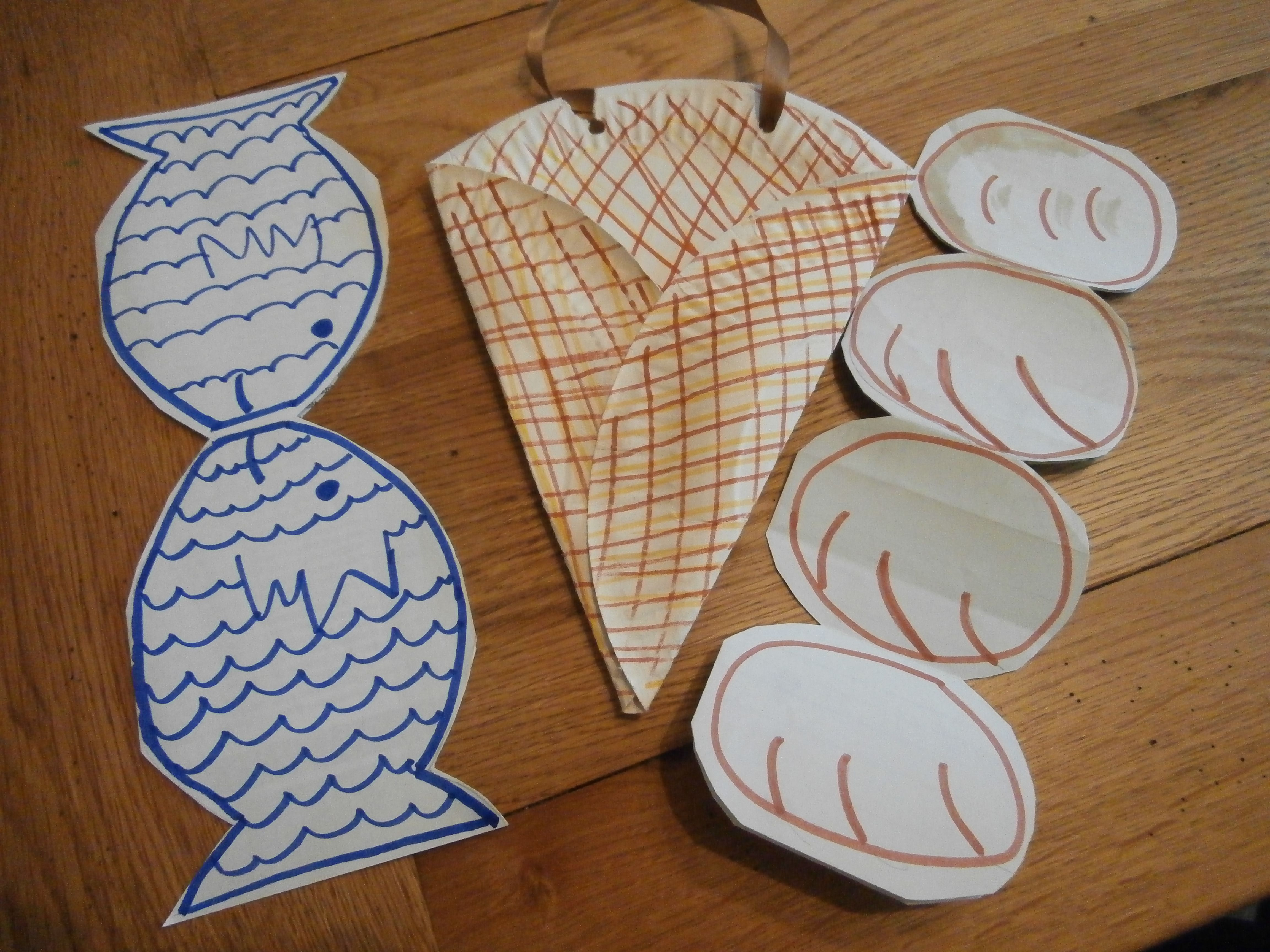 sunday school craft the loaves and the fishes basket made from a